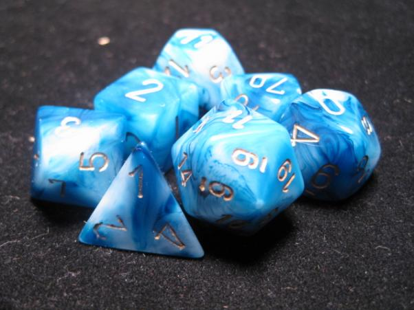Chessex Dice: Phantom Teal/Gold Poly 7-Dice Set