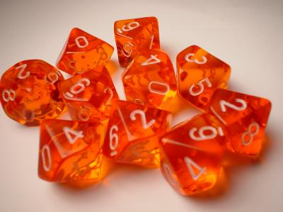 Chessex Dice Sets: Orange/White Translucent d10 Set (10)