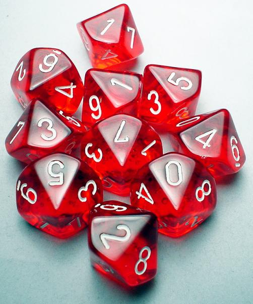 Chessex Dice Sets: Red/White Translucent d10 Set (10)