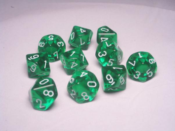 Chessex Dice Sets: Green/White Translucent d10 Set (10)