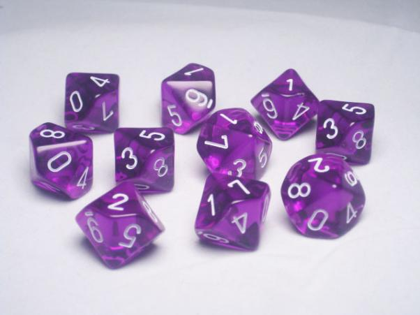 Chessex Dice Sets: Purple/White Translucent d10 Set (10)