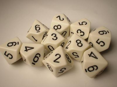 Chessex Dice Sets: White/Black Opaque d10 Set (10)