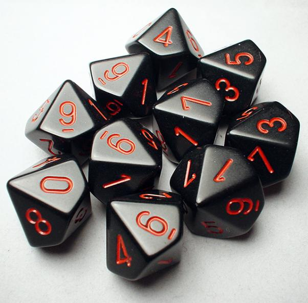 Chessex Dice Sets: Black/Red Opaque d10 Set (10)