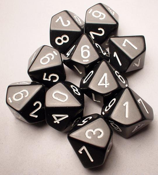 Chessex Dice Sets: Black/White Opaque d10 Set (10)