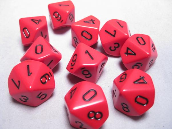 Chessex Dice Sets: Red/Black Opaque d10 Set (10)