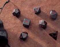 Dwarven Stone Dice: 14mm Obsidian Polyhedral 7-Die Set