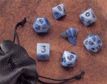 Dwarven Stone Dice: 14mm Blue Jasper Polyhedral 7-Die Set