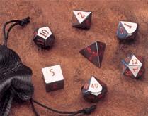 Dwarven Stone Dice: 14mm Hematite Polyhedral 7-Die Set