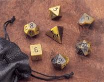 Dwarven Stone Dice: 14mm Tiger Eye Polyhedral 7-Die Set