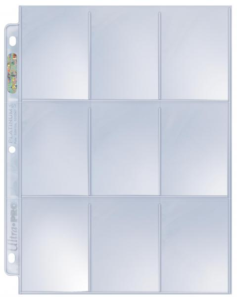 Card Accessories: 9-Pocket Platinum Page for Standard Size Cards (1 Page)