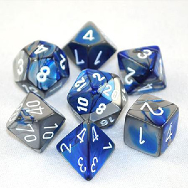 Chessex RPG Dice Sets: Blue-Steel/White Gemini Polyhedral 7-Die Set