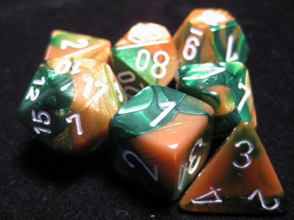 Chessex RPG Dice Sets: Gold-Green/White Gemini Polyhedral 7-Die Set