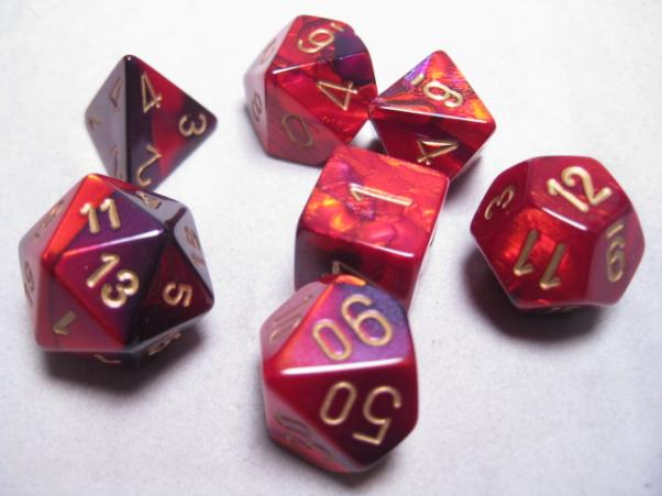 Chessex RPG Dice Sets: Purple-Red/Gold Gemini Polyhedral 7-Die Set