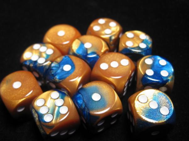 Chessex Dice Sets: Blue-Gold/White Gemini 16mm d6 (12)