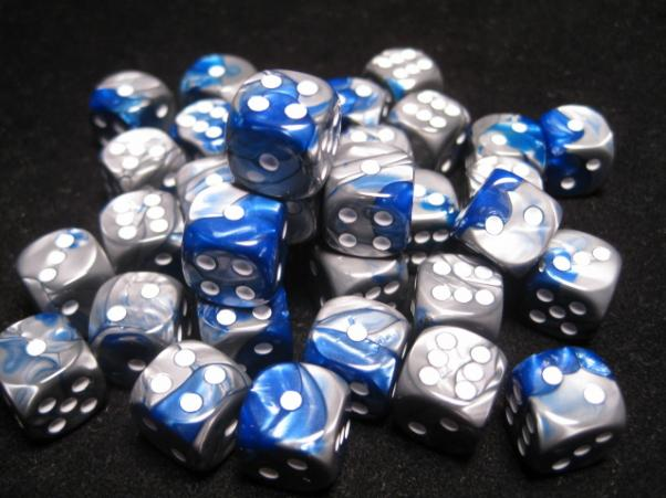 Chessex Dice Sets: Blue-Steel/White Gemini 12mm d6 (36)