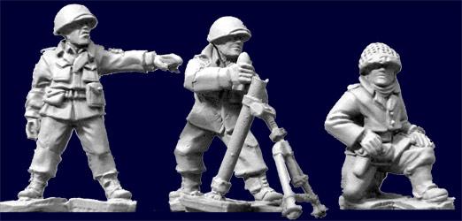 Artizan Designs WWII 28mm: U.S. Infantry 81mm Mortar (3 and Gun)