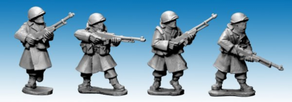 Artizan Designs WWII 28mm: US Infantry in Greatcoats w B.A.R's (4)