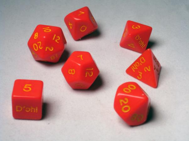 Crystal Caste Dice Sets: D'oh! Red Opaque Polyhedral 7-Die Set