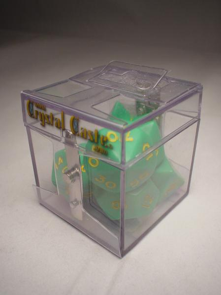 Crystal Caste Dice Sets: D'oh! Green/Yellow Opaque Polyhedral 7-Die Set