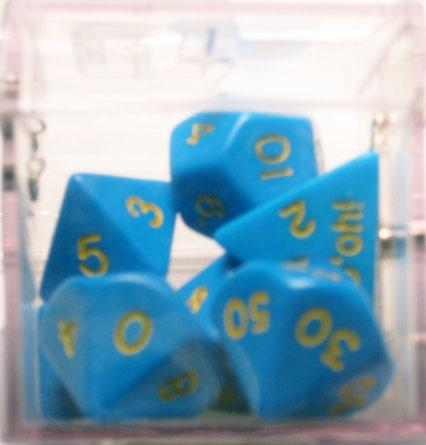 Crystal Caste Dice Sets: D'oh! Blue Opaque Polyhedral 7-Die Set