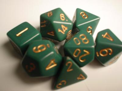 Chessex RPG Dice Sets: Green/Copper Dusty Opaque Polyhedral 7-Die Set