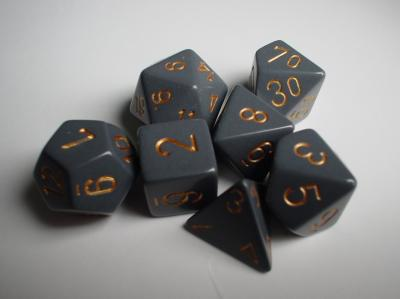 Chessex RPG Dice Sets: Grey/Copper Dusty Opaque Polyhedral 7-Die Set