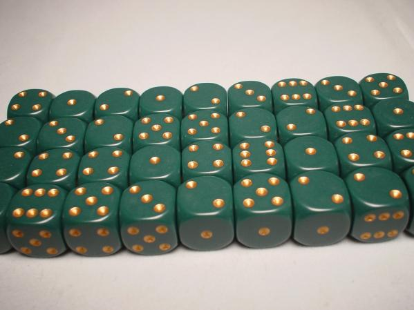 Chessex Dice Sets: Green/Copper Dusty Opaque 12mm d6 (36)
