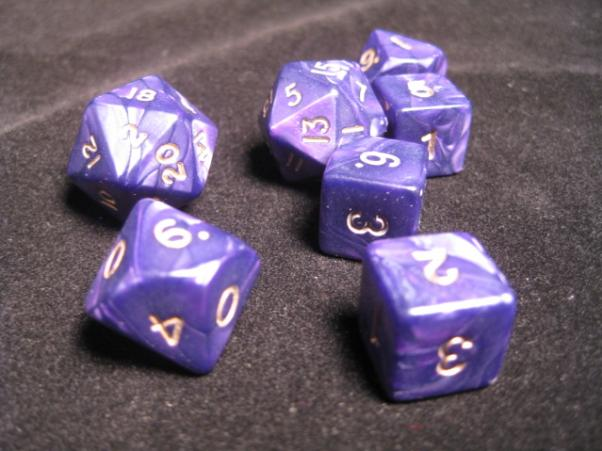 Cheater Dice - Pearl: Purple/Gold 7 Dice Poly Set