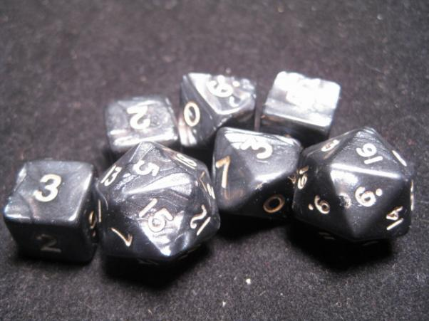 Cheater Dice - Pearl: Black/Gold 7 Dice Poly Set