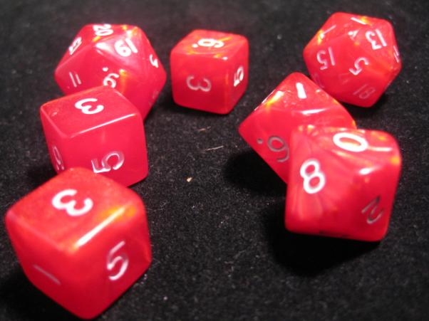 Cheater Dice - Pearl: Red/White 7 Dice Poly Set