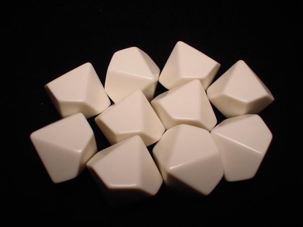 Chessex Special Dice: White Opaque Blank d10 (10)