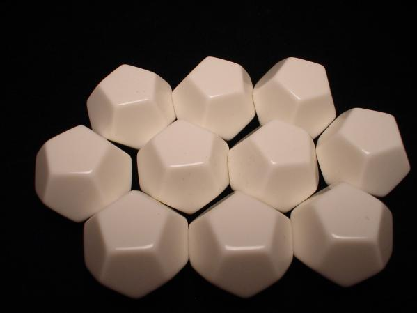 Chessex Special Dice: White Opaque Blank d12 (10)