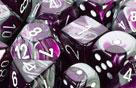 Chessex Dice Sets: Purple-Steel/White Gemini d10 Set (10)