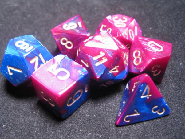 Chessex RPG Dice Sets: Blue-Purple/Gold Gemini Polyhedral 7-Die Set