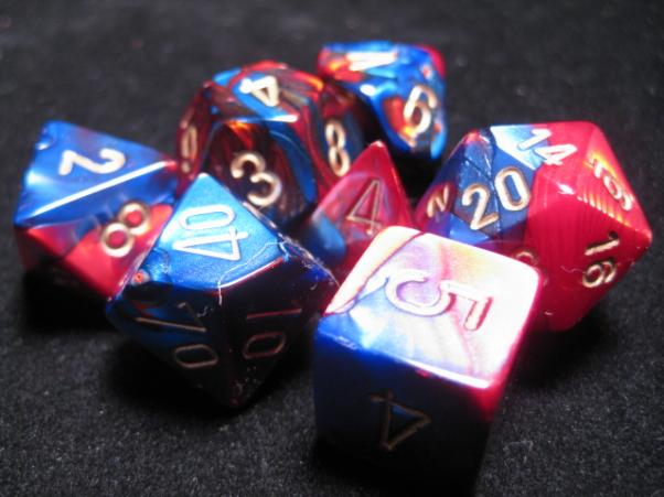 Chessex RPG Dice Sets: Blue-Red/Gold Gemini Polyhedral 7-Die Set