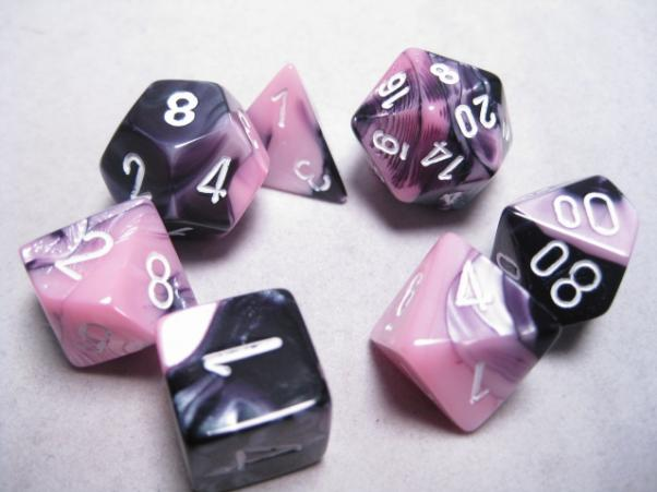 Chessex RPG Dice Sets: Black-Pink/White Gemini Polyhedral 7-Die Set