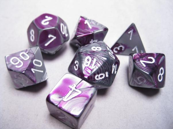 Chessex RPG Dice Sets: Purple-Steel/White Gemini Polyhedral 7-Die Set