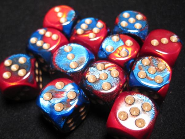 Chessex Dice Sets: Blue-Red/Gold Gemini 16mm d6 (12)