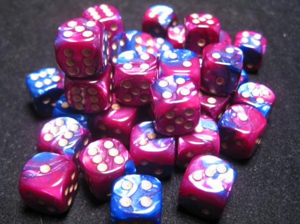 Chessex Dice Sets: Blue-Purple/Gold Gemini 12mm d6 (36)