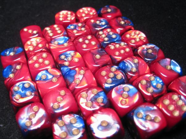 Chessex Dice Sets: Blue-Red/Gold Gemini 12mm d6 (36)