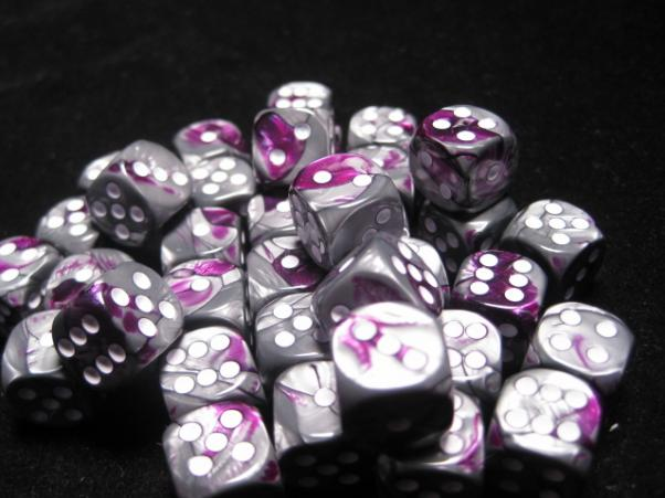 Chessex Dice Sets: Purple-Steel/White Gemini 12mm d6 (36)
