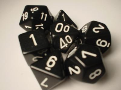 Chessex RPG Dice Sets: Black/White Opaque Polyhedral 7-Die Set