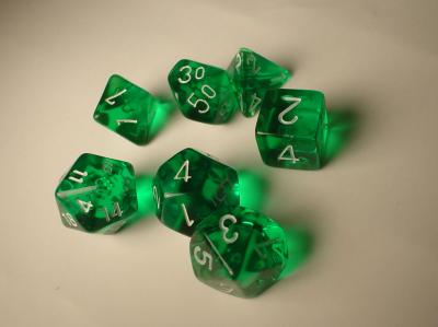 Chessex RPG Dice Sets: Green/White Translucent Polyhedral 7-Die Set