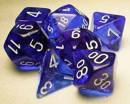 Chessex RPG Dice Sets: Blue/White Translucent Polyhedral 7-Die Set