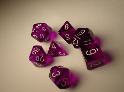 Chessex RPG Dice Sets: Purple/White Translucent Polyhedral 7-Die Set