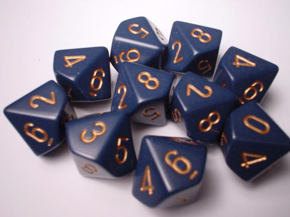 Chessex Dice Sets: Blue/Copper Dusty Opaque d10 Set (10)