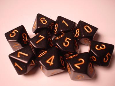 Chessex Dice Sets: Black/Gold Opaque d10 Set (10)