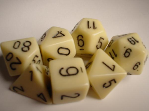Chessex RPG Dice Sets: Ivory/Black Opaque Polyhedral 7-Die Set