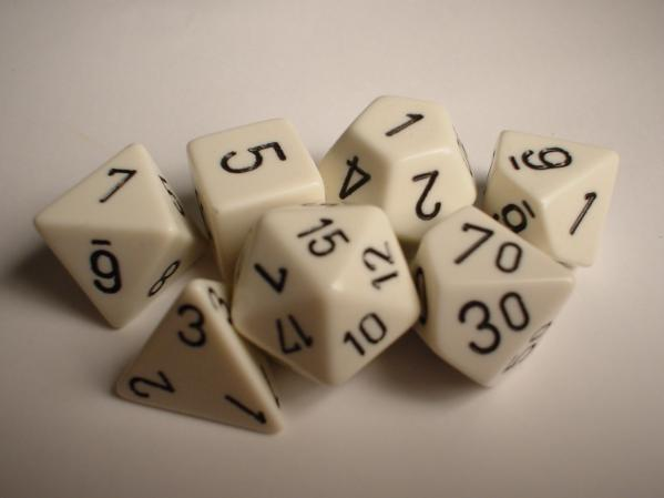 Chessex RPG Dice Sets: White/Black Opaque Polyhedral 7-Die Set