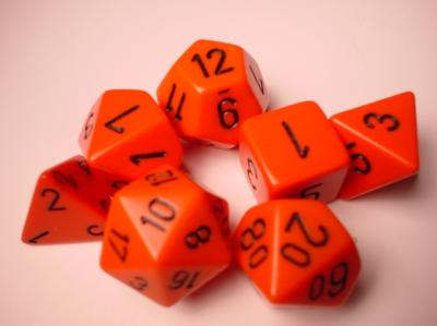 Chessex RPG Dice Sets: Orange/Black Opaque Polyhedral 7-Die Set